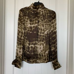 PER SE Animal Print 100% Silk Blouse Size 10